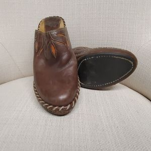 Brown and Orange Cutout  Frye Leather Mules